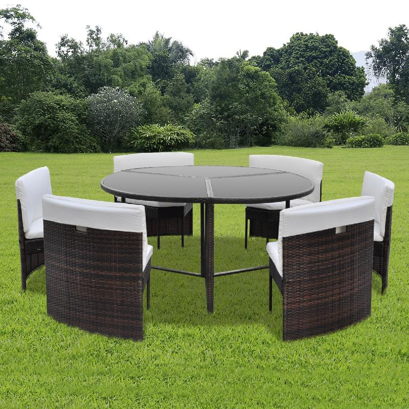 Salon de jardin circulaire 6 places r sine tress e - Table salon de jardin resine tressee ...