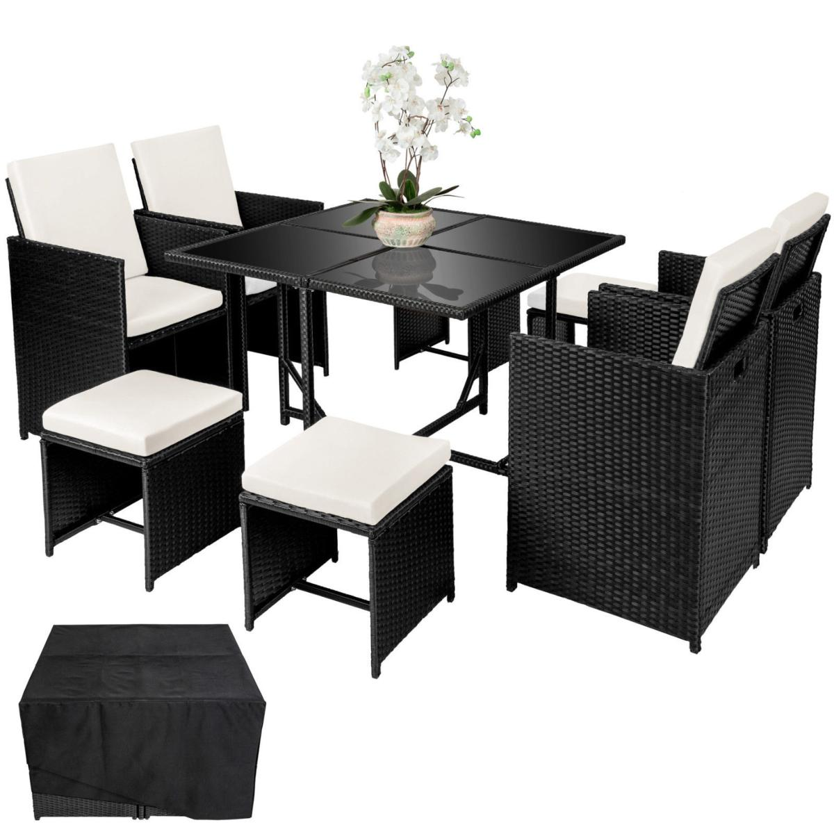 salon de jardin noir r sine tress e 8 personnes. Black Bedroom Furniture Sets. Home Design Ideas