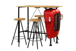 Ensemble table bar tracteur 4 tabourets, bois de manguier