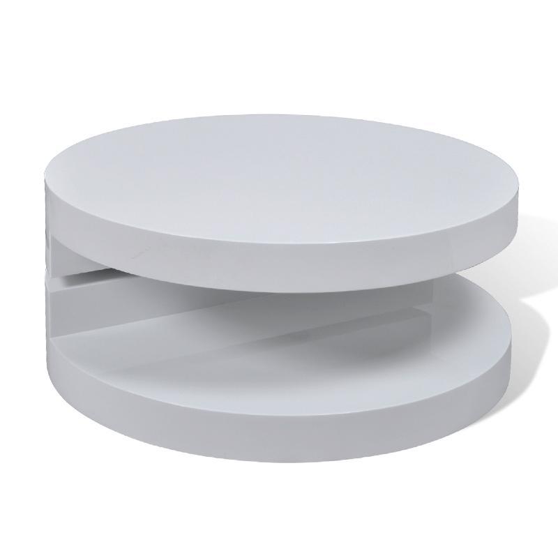 Table basse pivotante ronde mod le onde noir ou blanc for Grande table basse blanche