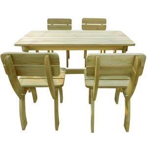 TABLE jardin, avec 4 chaises, type pique-nique bois massif