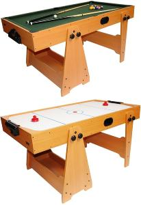 Table BILLARD / AIR-HOCKEY en bois 2 en 1, pliable