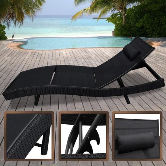 lit transat de terrasse en r sine tress e noir. Black Bedroom Furniture Sets. Home Design Ideas
