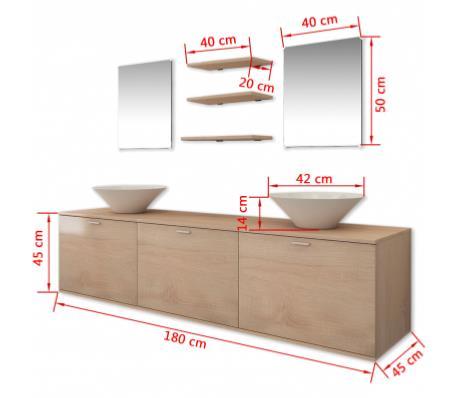 Meuble de salle de bain complet beige double vasque for Meuble de salle de bain complet