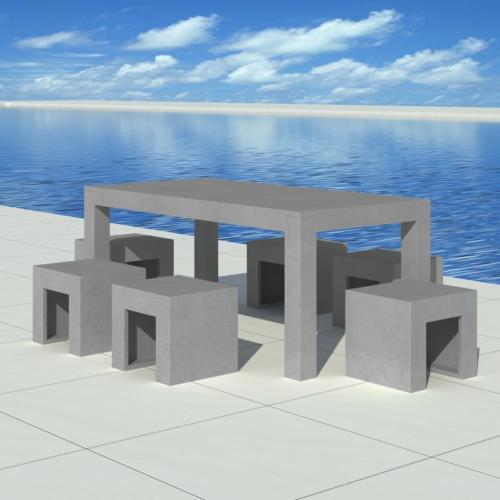 Salon de jardin 6 places en b ton gris complet - Table jardin beton ...