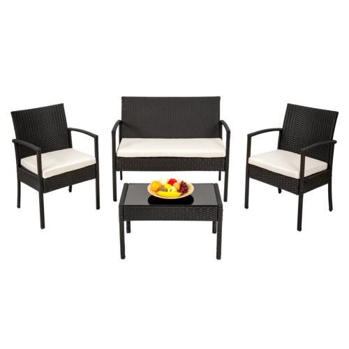 SALON JARDIN noir, en résine avec 3 fauteuils et 1 table basse
