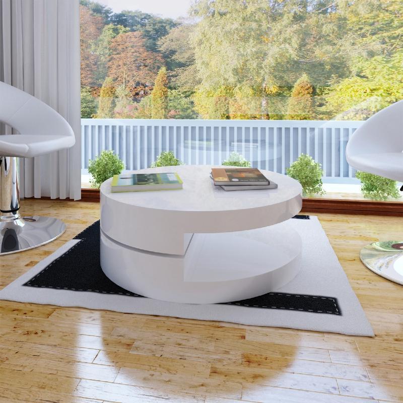 Table basse pivotante ronde mod le onde noir ou blanc - Modele table basse ...