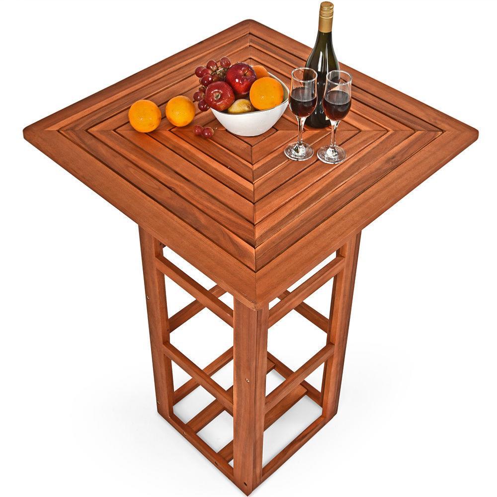 table haute style bistro en acacia. Black Bedroom Furniture Sets. Home Design Ideas