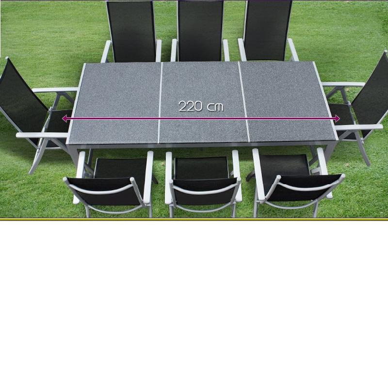 Salon de jardin alu et plateau granit 8 chaises - Comment nettoyer un salon de jardin en textilene ...
