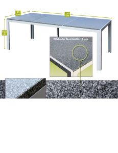 Salon de jardin ALU et plateau granit + 8 chaises