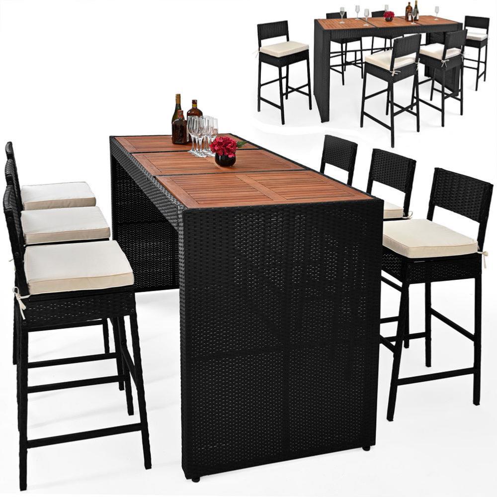 Bar de jardin en r sine tress e noir et bois exotique 6 - Salon de jardin bois et resine ...