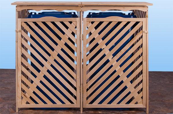 container pour 2 poubelles en bois massif. Black Bedroom Furniture Sets. Home Design Ideas