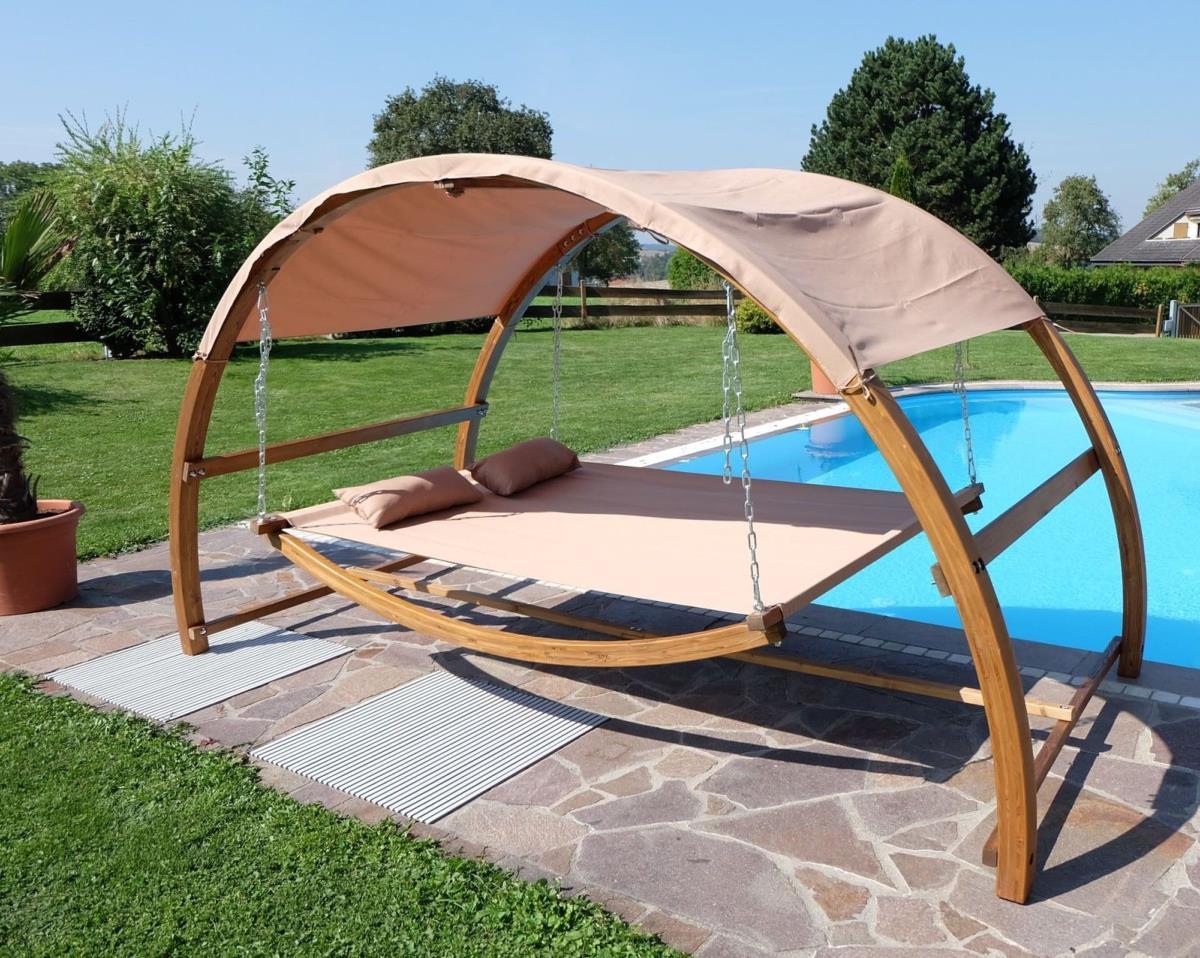 hamac sous auvent 2 places bois massif mod le baviere. Black Bedroom Furniture Sets. Home Design Ideas