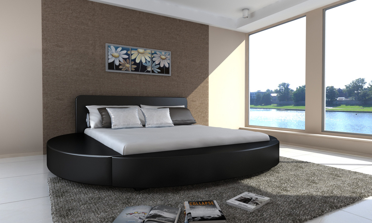 lit rond en cuir noir 180 cm 2 personnes avec matelas. Black Bedroom Furniture Sets. Home Design Ideas