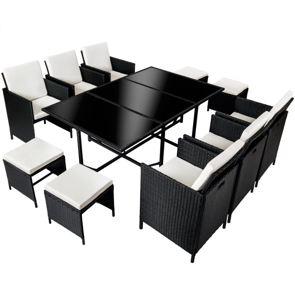 salon de jardin en r sine tress e noir 10 places. Black Bedroom Furniture Sets. Home Design Ideas