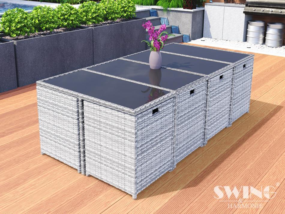 SALON jardin design gris clair, résine tressée, 12 places