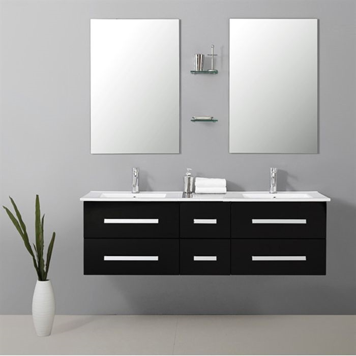 ensemble de salle de bain complet 2 lavabos avec robinets tiroirs et miroirs. Black Bedroom Furniture Sets. Home Design Ideas