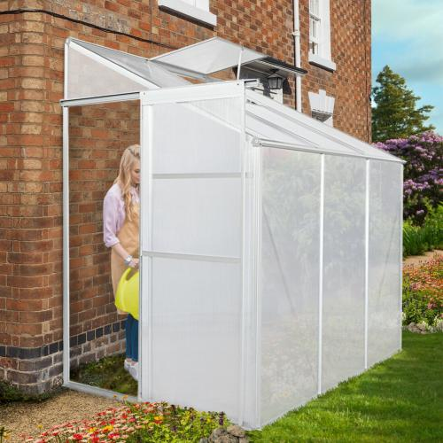 Serre de jardin 2,3 m² abri abri, adossable en polycarbonate aluminium