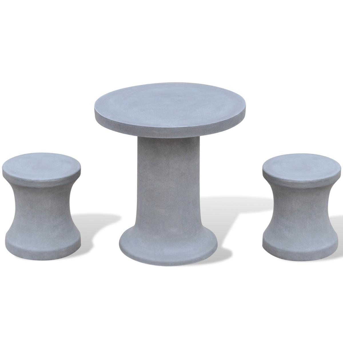 Table avec 2 tabourets en b ton pour ext rieur - Salon de jardin en beton ...
