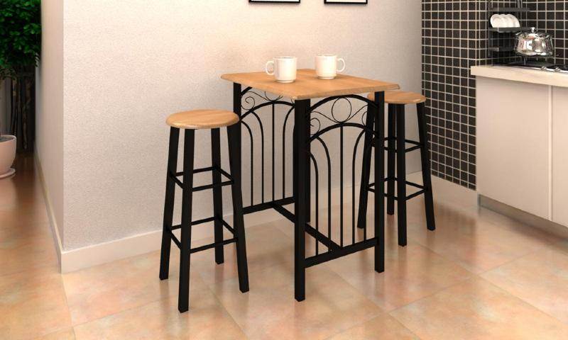 Table de bar haute avec 2 chaises mod le tiger for Table de bar en bois