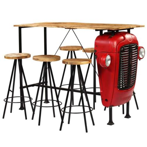 Ensemble table bar vintage avec tabourets, bois de manguier