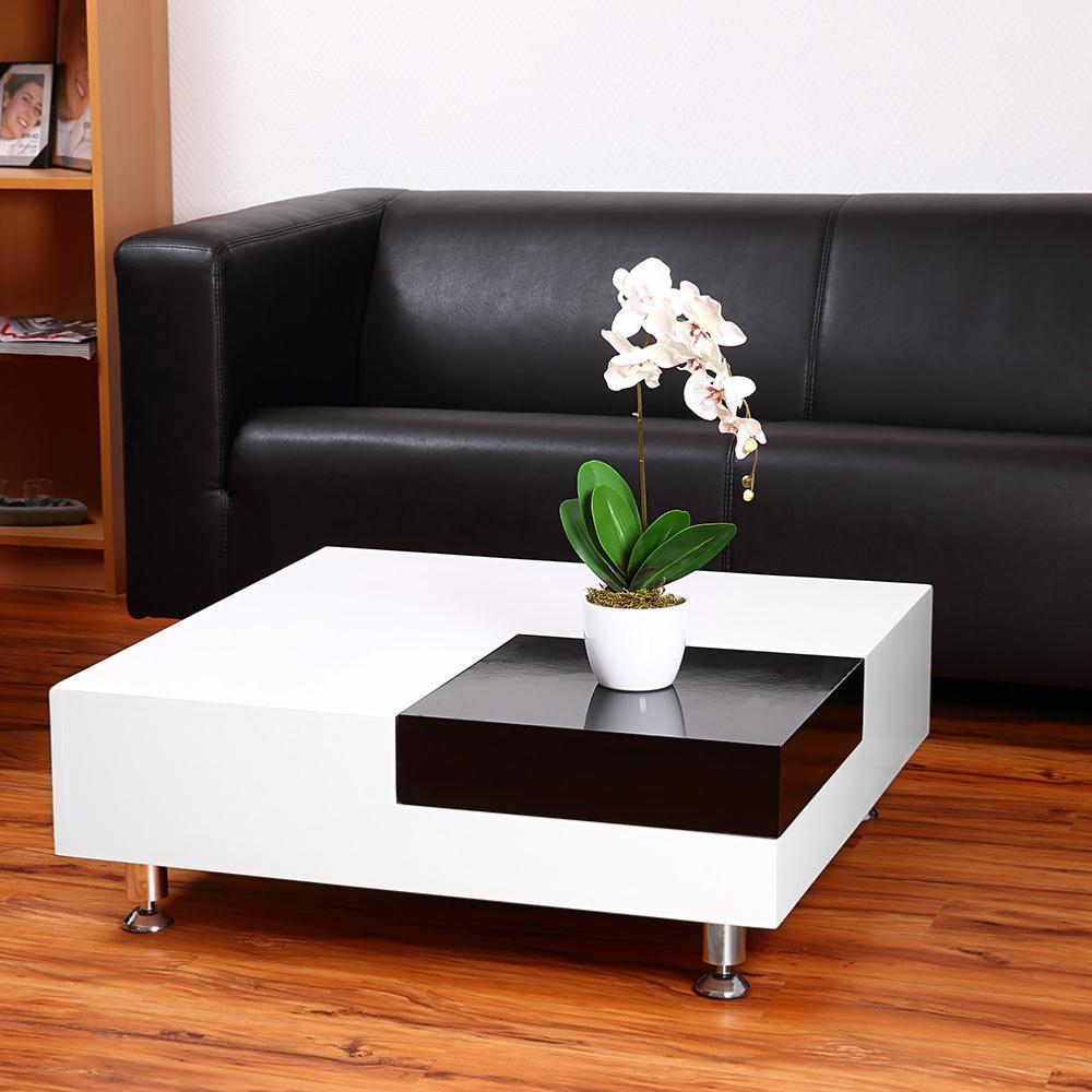 Table basse 80 cm plateau d 39 angle amovible blanc noir - Modele table basse ...