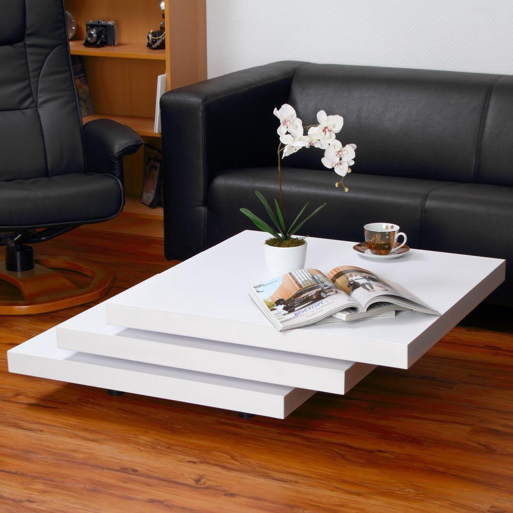 Table basse pivotante carr e mod le fusion blanche - Modele table basse ...