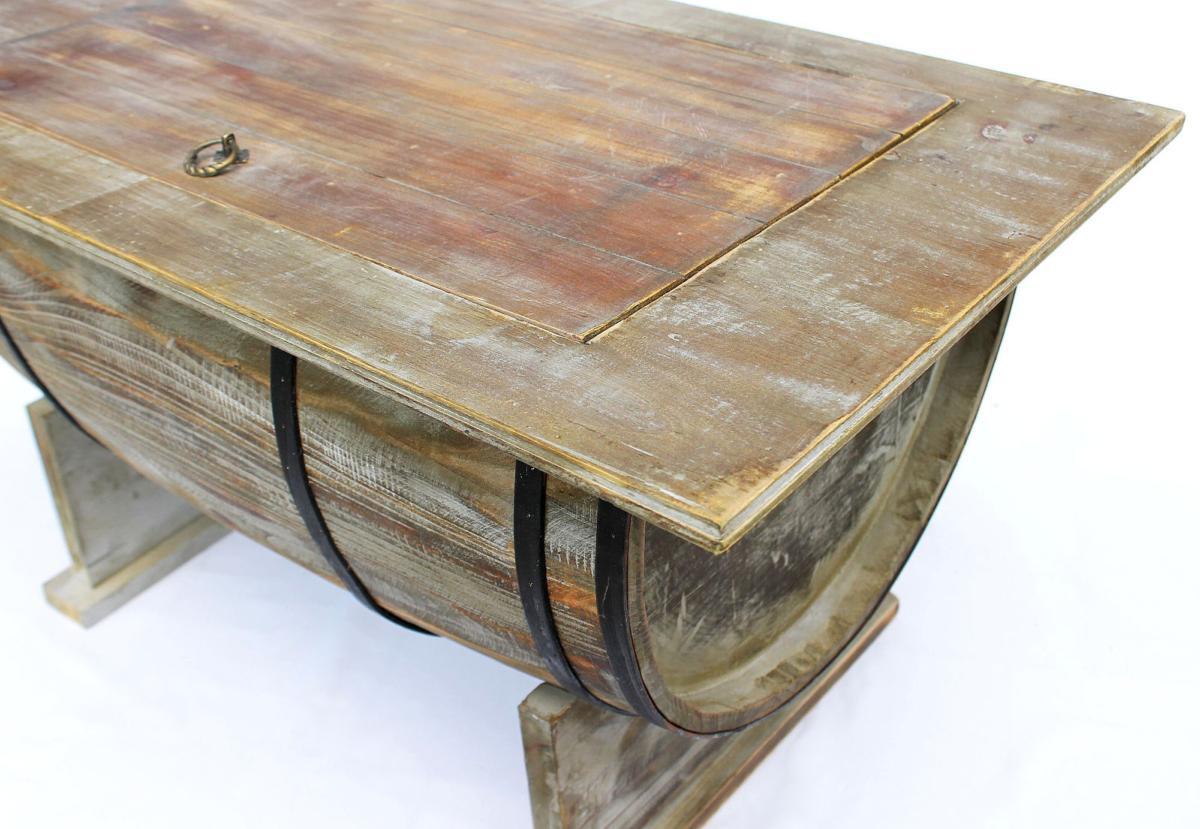 Demi Tonneau En Bois table basse, style vieux tonneau, vintage