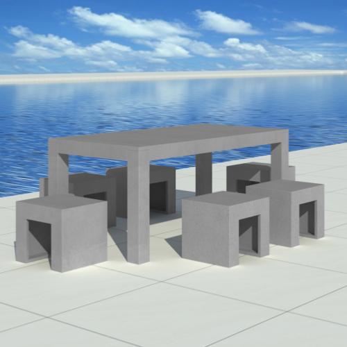Salon de jardin en b ton complet table avec 6 tabourets - Table jardin beton ...