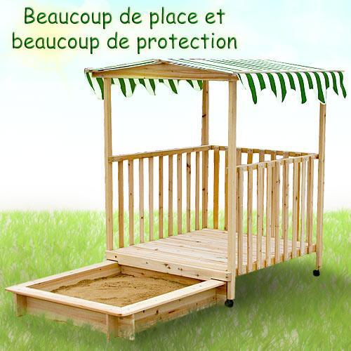 bac sable avec abri en bois avec toit pour enfants. Black Bedroom Furniture Sets. Home Design Ideas