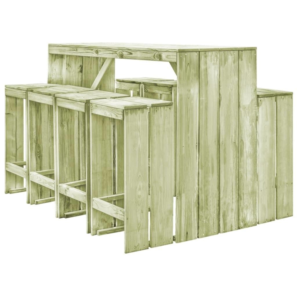 Bar de jardin en bois massif, avec 8 tabourets