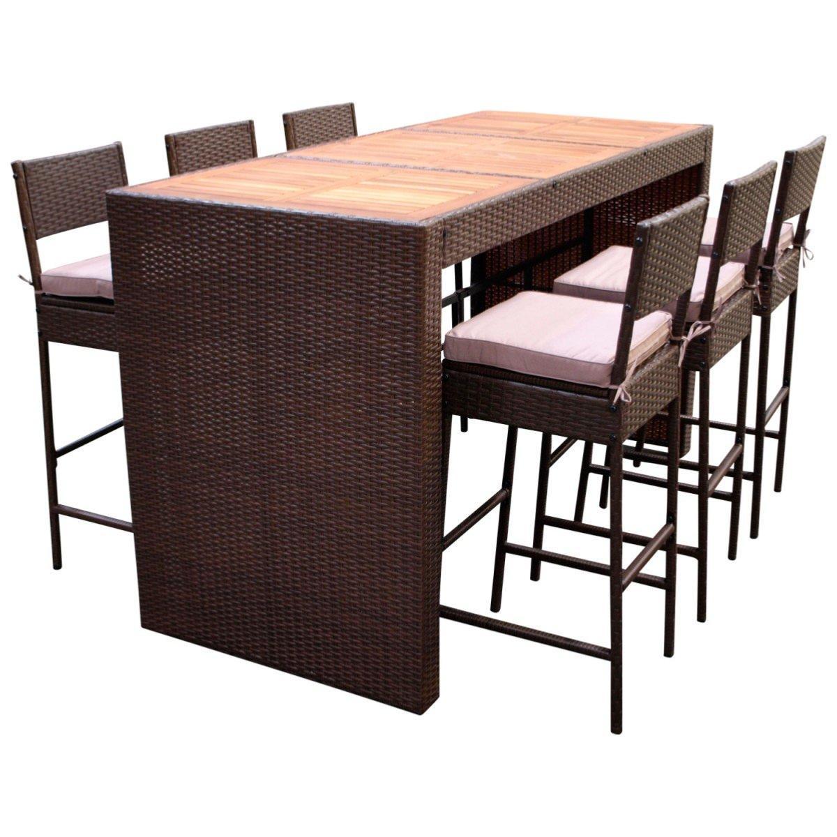 Bar de jardin r sine tress e marron et acacia 6 fauteuils - Tabouret de bar en resine tressee ...