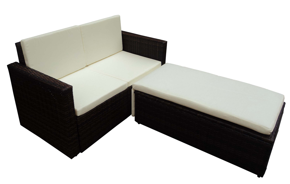canape de jardin avec syst me lit en r sine tress e. Black Bedroom Furniture Sets. Home Design Ideas