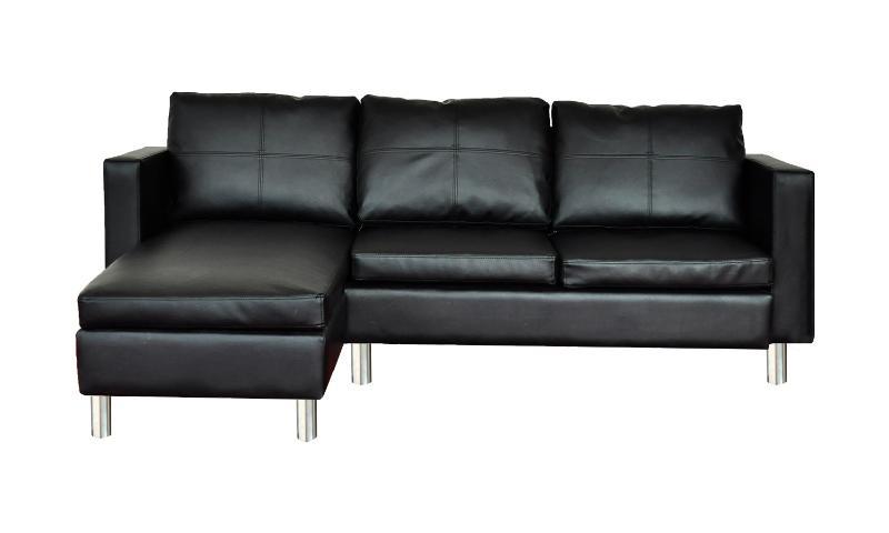 Canape de salon en cuir noir - Canape cuir de qualite ...