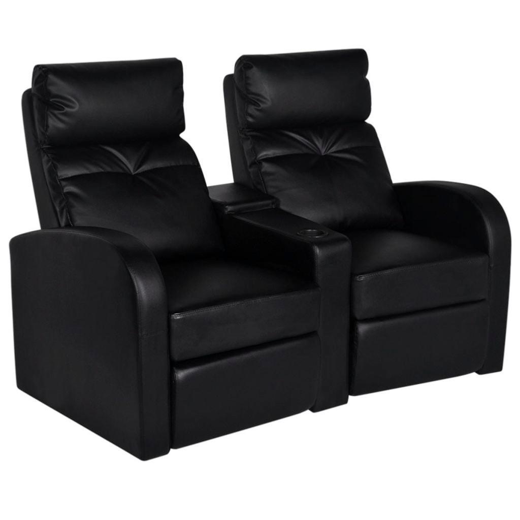 fauteuil 2 places inclinables luxe en cuir textile noir. Black Bedroom Furniture Sets. Home Design Ideas