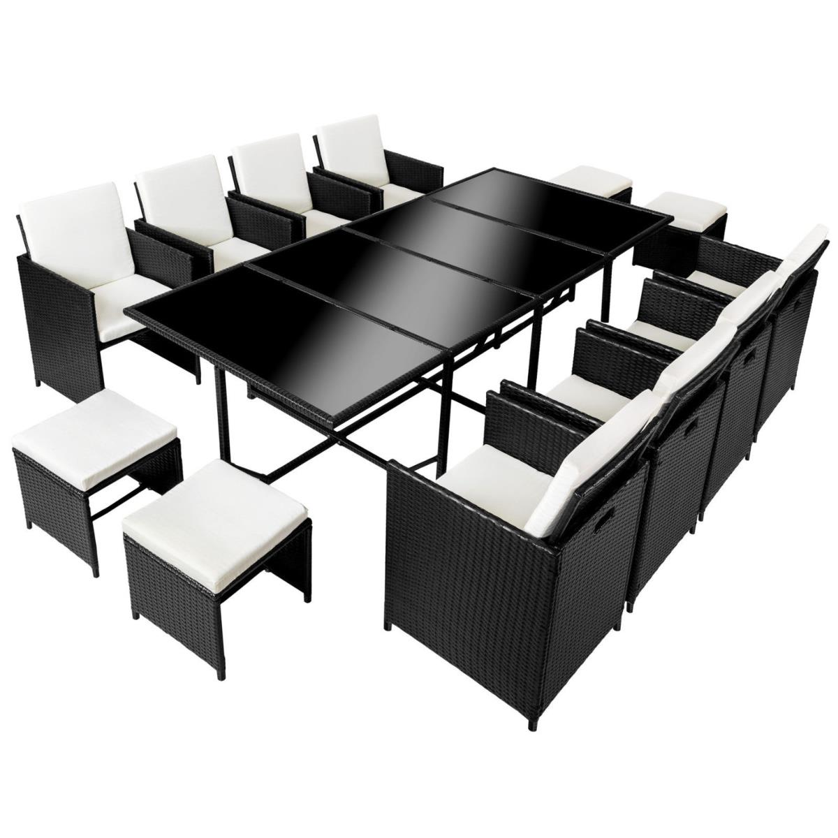 salon de jardin r sine tress e 12 personnes noir. Black Bedroom Furniture Sets. Home Design Ideas