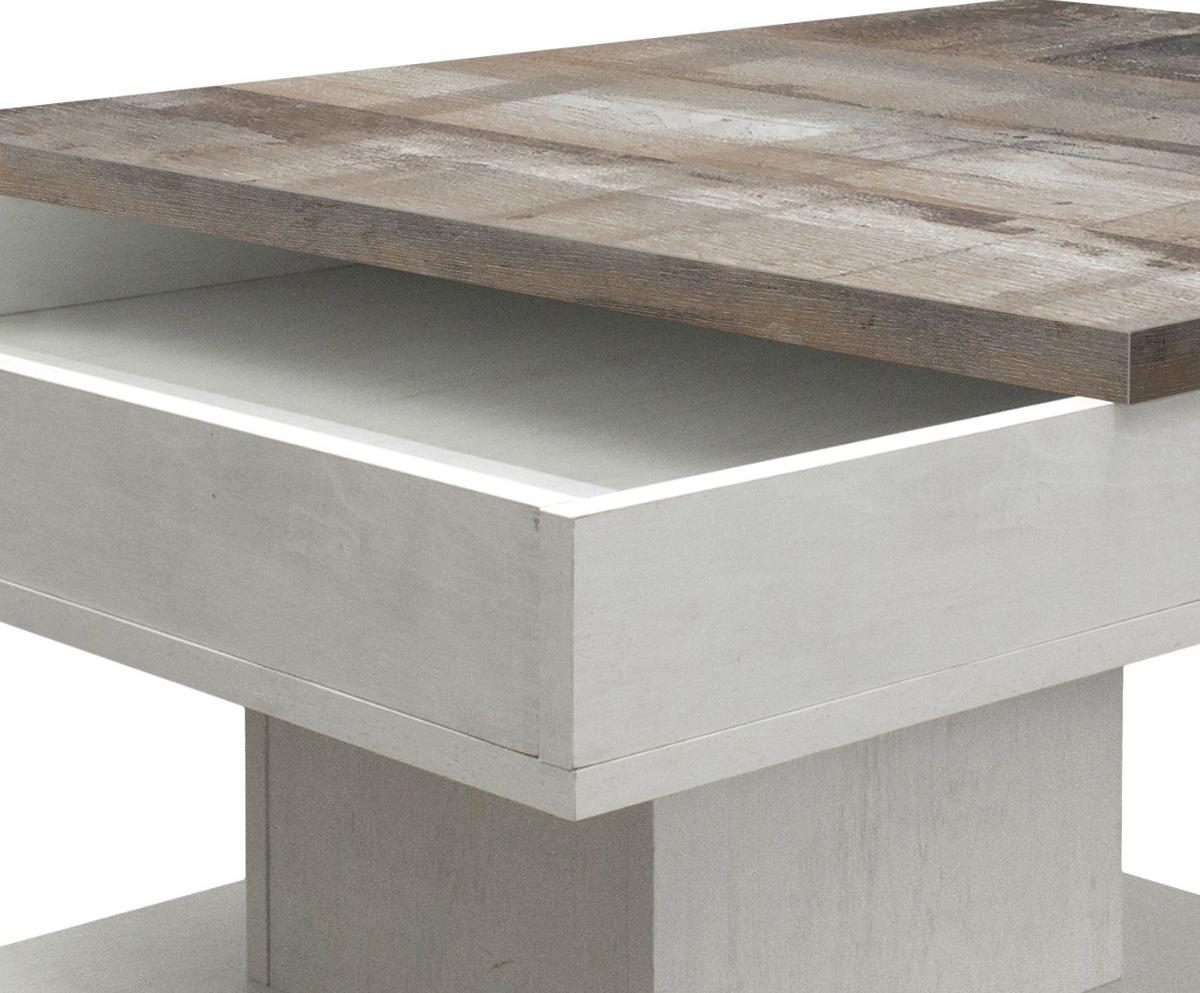 table basse coulissante ch ne blanc vintage olympe. Black Bedroom Furniture Sets. Home Design Ideas