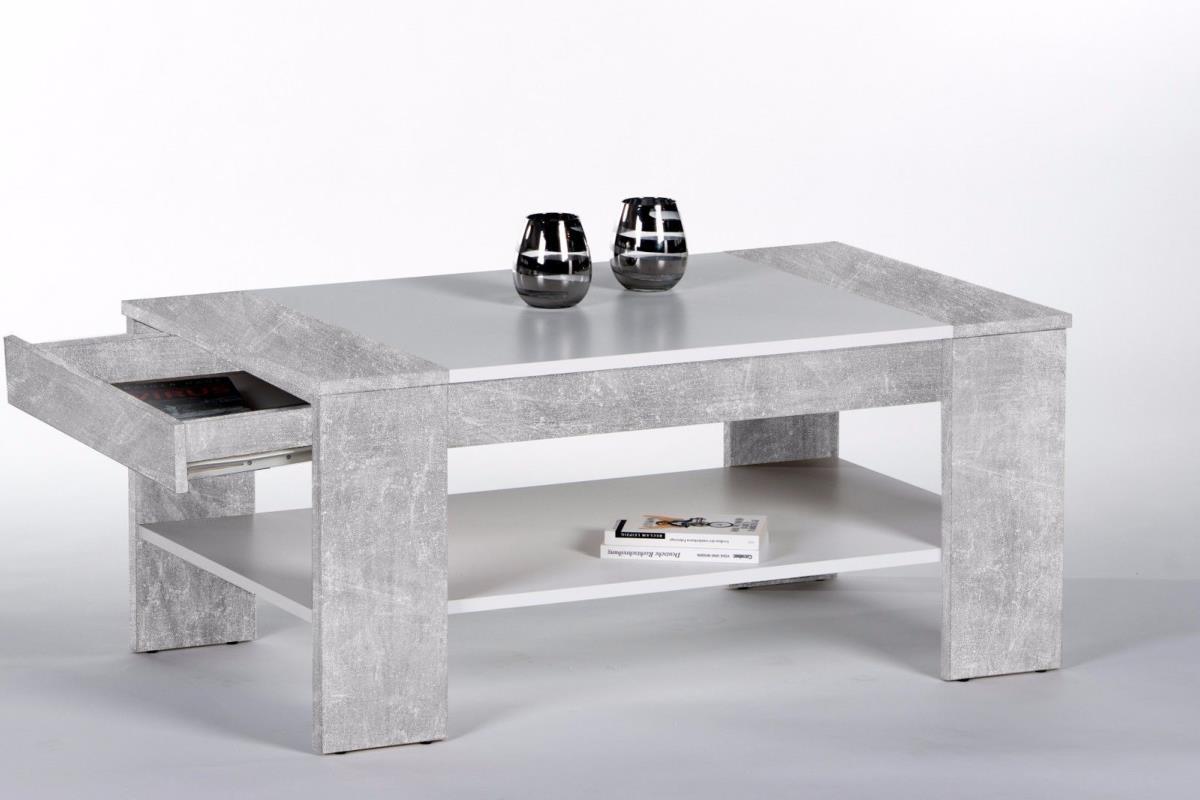 Table basse en bois gris 100cm avec tiroir mod le berlin Table basse avec tiroir de rangement