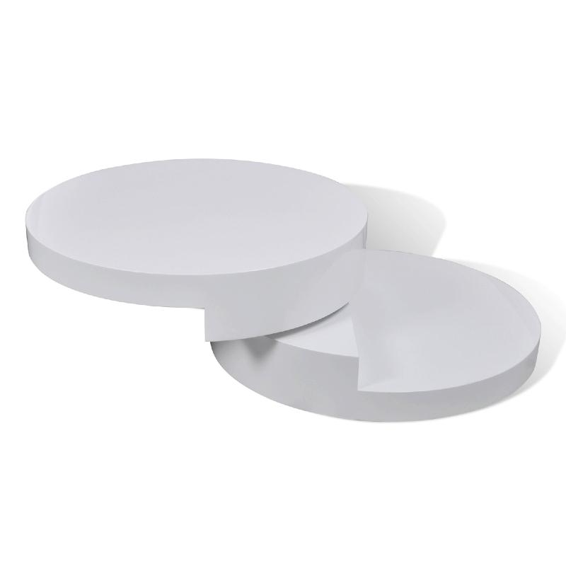 Table basse ronde pivotante blanc et noir for Table basse ronde blanc