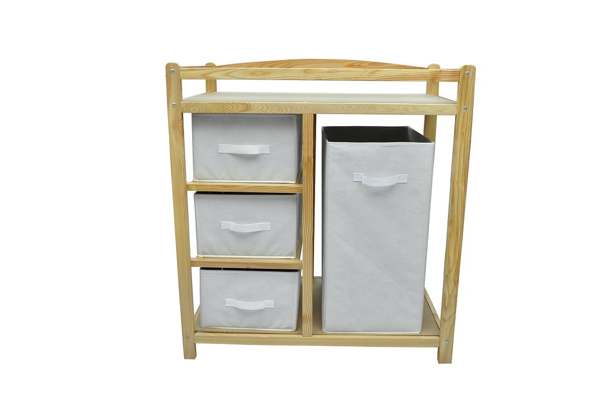 Commode fonction table langer en bois avec rangements - Table a langer en bois avec baignoire ...