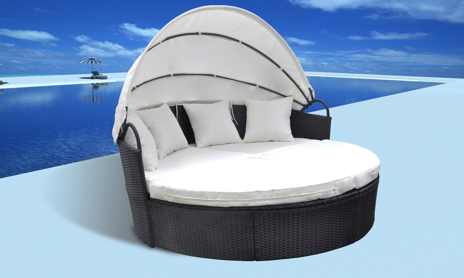 canap it de jardin modulable en r sine tress e noir. Black Bedroom Furniture Sets. Home Design Ideas