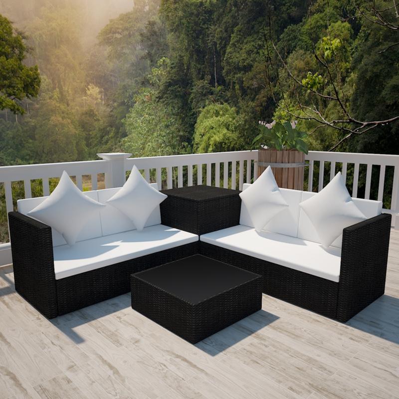 Canapé jardin d\'angle, résine tressée, noir ou marron