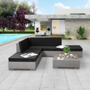 canapé d\'angle, salon de jardin en béton, XL, 225 x 225 cm