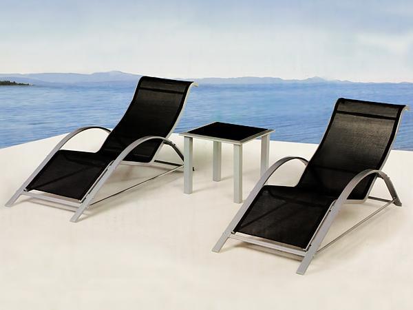 Chaise longue pour salon de jardin en alu for Chaise longue pour deux