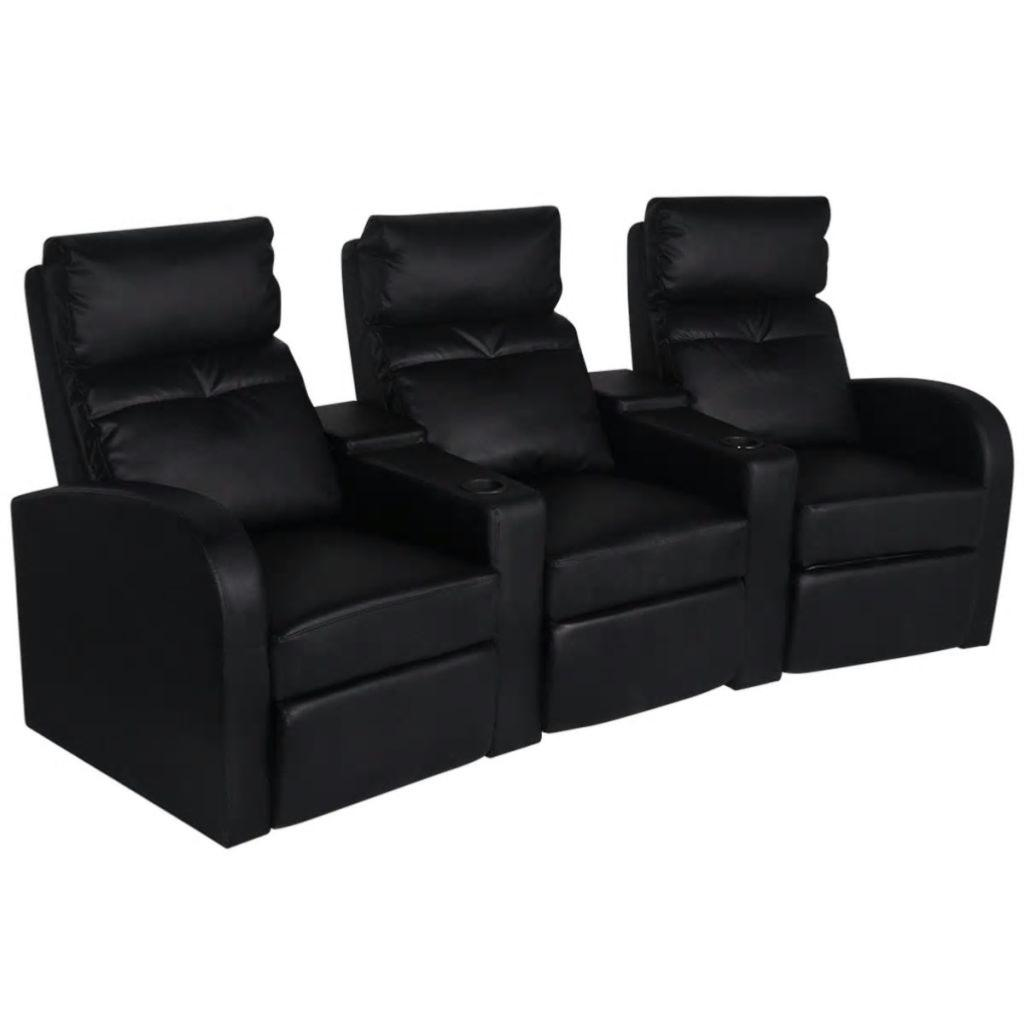 fauteuil 3 places inclinables luxe en cuir textile noir. Black Bedroom Furniture Sets. Home Design Ideas