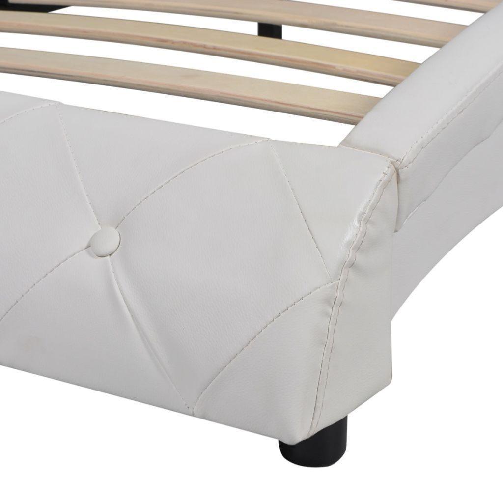 Lit design en cuir 180 x 200 cm blanc for Lit design cuir