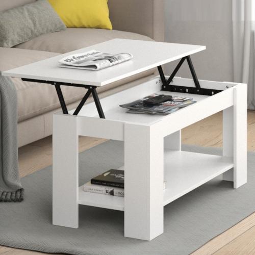 Table basse bois 100 cm couleur blanc plateau ouvrant Table basse blanche plateau relevable