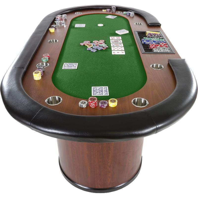 table de poker 3 couleurs de tapis 215 cm 10 personnes. Black Bedroom Furniture Sets. Home Design Ideas