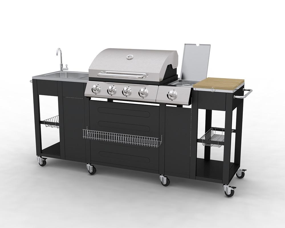 Barbecue complet inox avec vier et plan de travail - Meuble cuisine exterieur inox ...
