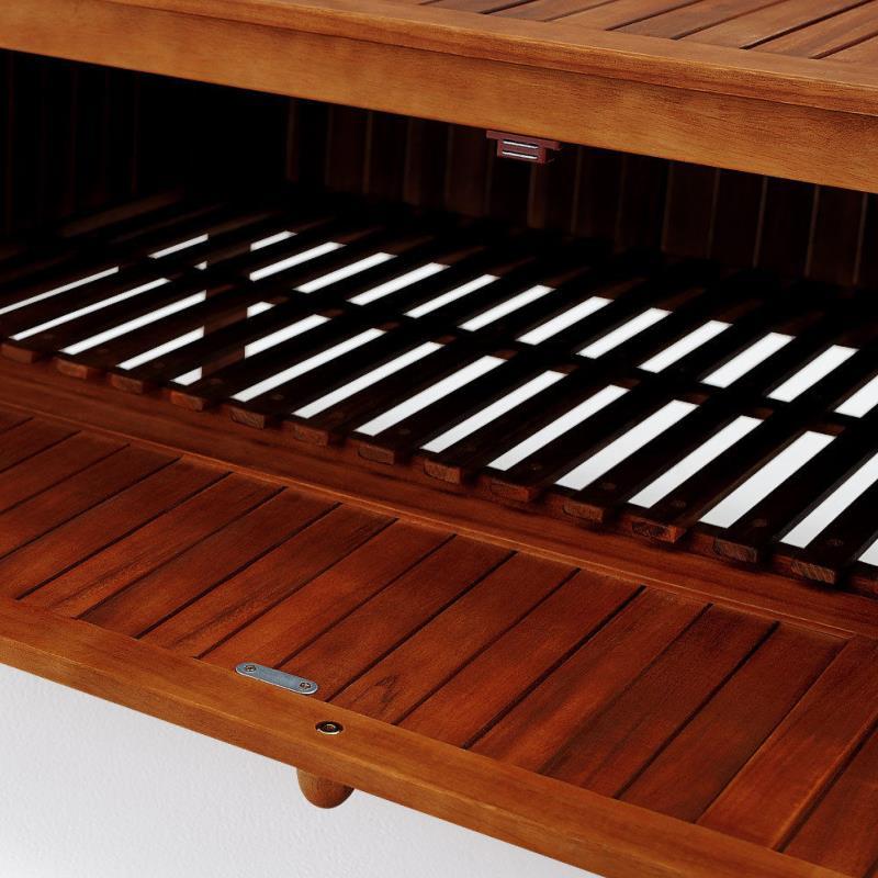 banc de jardin en acacia huil avec coffre de rangement. Black Bedroom Furniture Sets. Home Design Ideas
